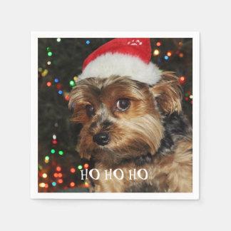 HO HO HO, Christmas,Cute Yorkshire terrier Disposable Napkins