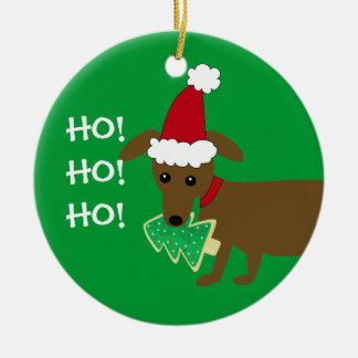 HO! HO! HO! Christmas Dachshund Christmas Ornament