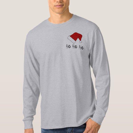 Ho Ho Ho Christmas Santa Hat Mens LS T-shirt
