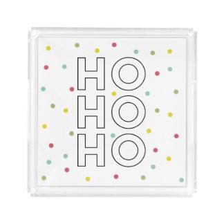 Ho Ho Ho Colorful Confetti Dots Holiday Acrylic Tray