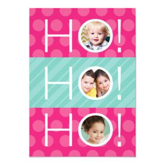 Ho Ho Ho! Double Sided 4 Photo Holiday Card 13 Cm X 18 Cm Invitation Card