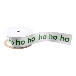 Ho-Ho-Ho Green and White Satin Ribbon