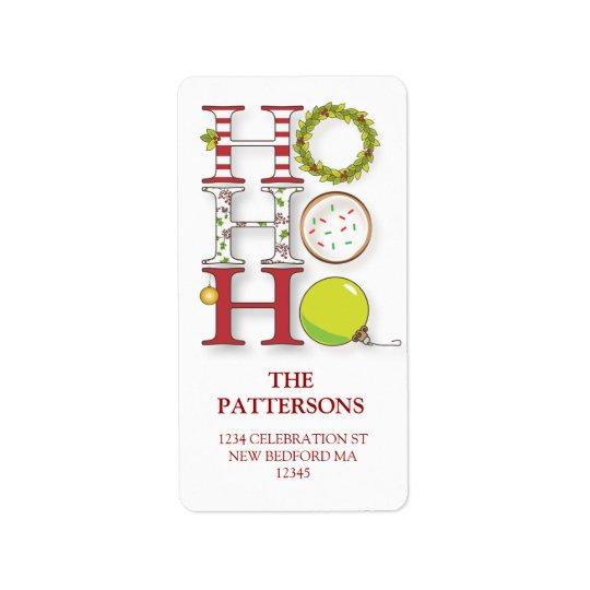 HO HO HO Happy Holiday Christmas Greeting Address Label