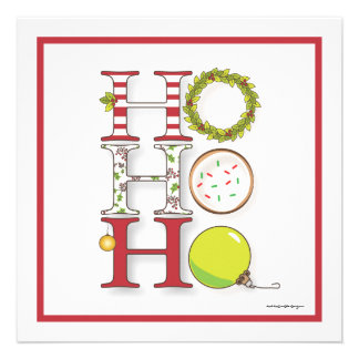 Ho HO HO Happy Holiday Christmas Party Personalized Announcements