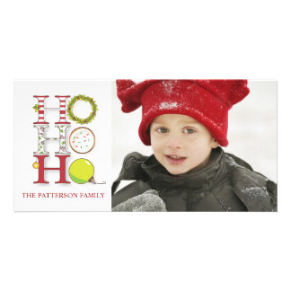 HO HO HO Holiday Christmas Greeting Personalised Photo Card
