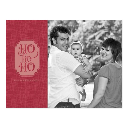 Ho Ho Ho Holiday Photo Postcard