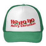"""Ho Ho Ho Merry Christmas"" green & white hat"