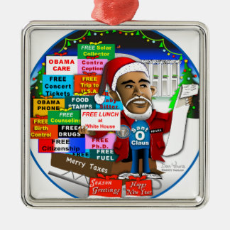 Ho Ho Ho Obama Silver-Colored Square Decoration