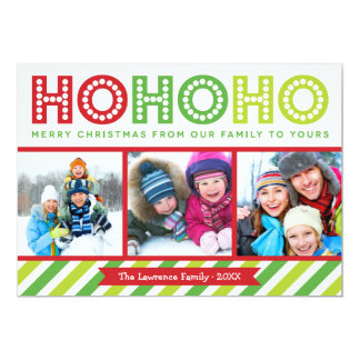 Ho Ho Ho Photo Collage Modern Holiday Card