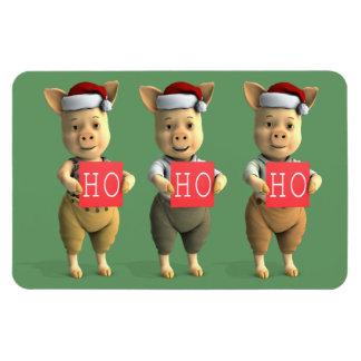 Ho Ho Ho Piglets Rectangular Photo Magnet