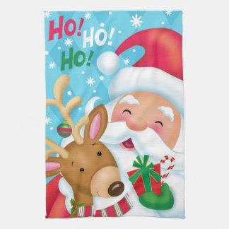HO HO HO Santa and Deer Kitchen Towel