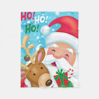 HO HO HO Santa and Reindeer Blanket