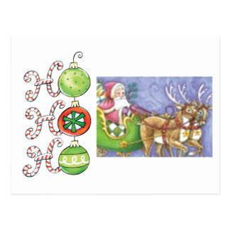 Ho! Ho! Ho! Santa and Reindeer Postcard