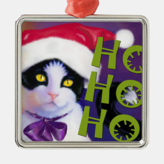 Ho Ho Ho Santa Cat sq.Ornament Christmas Ornament