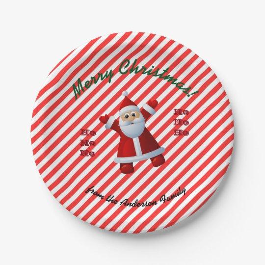 HO! HO! HO! Santa Claus Merry Christmas Candy Cane Paper Plate