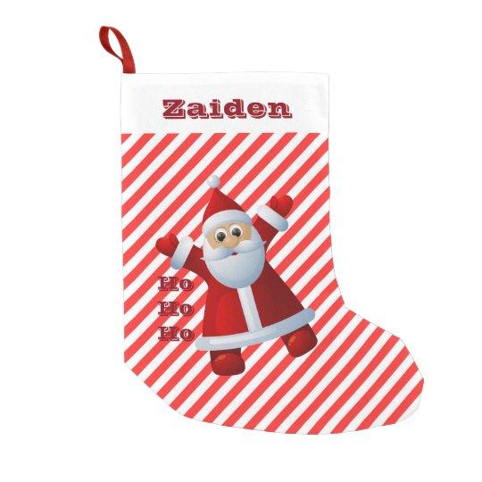 HO! HO! HO! Santa Claus Merry Christmas Candy Cane Small Christmas Stocking