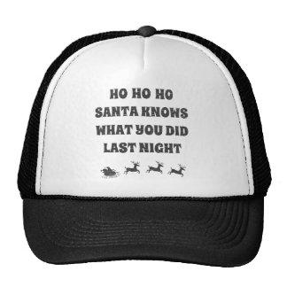 Ho Ho Ho Santa Knows What You Did Mesh Hats