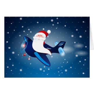 Ho ho ho! Santa on the airplane Card