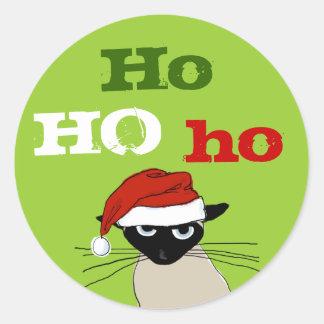 Ho Ho Ho Siamese Cat Round Stickers