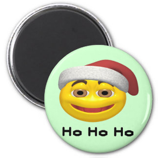 Ho Ho Ho - SmileySanta 6 Cm Round Magnet