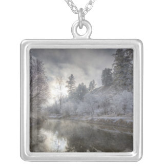 Hoarfrost along a slough at the Kelly Island Silver Plated Necklace