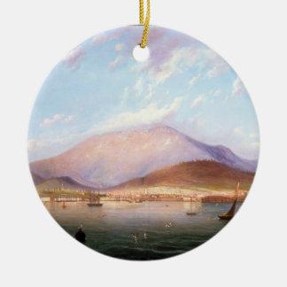 Hobart Town with Mount Wellington, Tasmania Round Ceramic Decoration