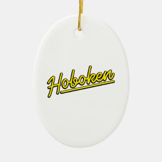 Hoboken in yellow ceramic oval decoration