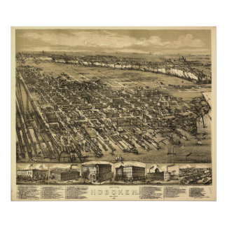 Hoboken New Jersey 1881 Antique Panoramic Map Poster