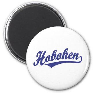 Hoboken script logo in blue 6 cm round magnet