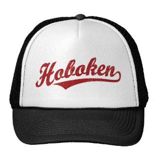 Hoboken script logo in red distressed cap