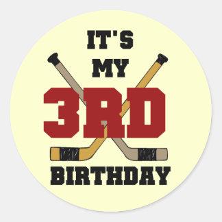 Hockey 3rd Birthday Tshirts and Gifts Round Sticker