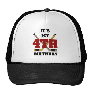 Hockey 4th Birthday Tshirts and Gifts Cap