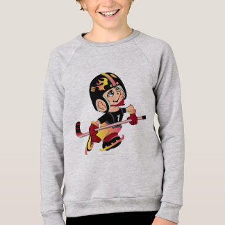 HOCKEY ALIEN CARTOON Kids' American Apparel Raglan Sweatshirt