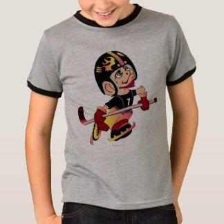 HOCKEY ALIEN CARTOON Kids' Basic Ringer T-Shirt