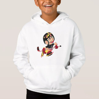 HOCKEY ALIEN CARTOON Kids' Fleece Pullover Hoodie