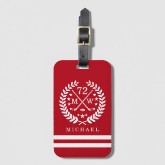 Hockey ALL-STAR Custom Initials and Name Red Luggage Tag