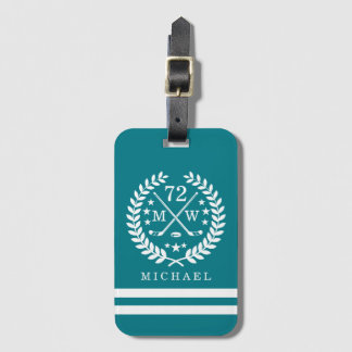 Hockey ALL-STAR Custom Initials and Name Teal Luggage Tag