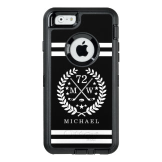 Hockey ALL-STAR Custom Initials, Name, Black OtterBox Defender iPhone Case