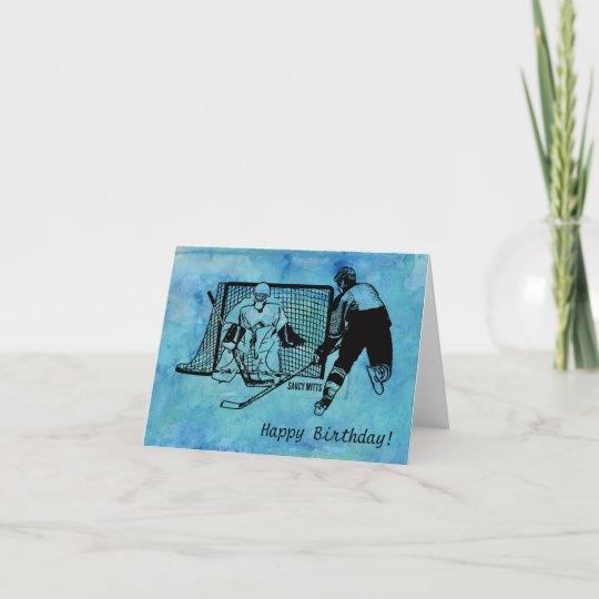 Hockey Birthday Card Ink Sketch On Blue Watercolor Zazzle