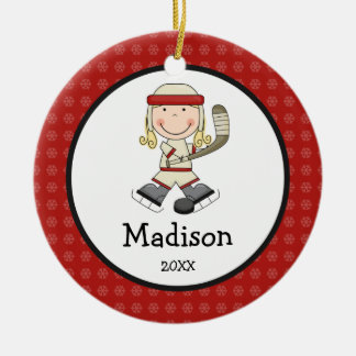 Hockey Blonde Girl Kids Personalized Christmas Christmas Ornament