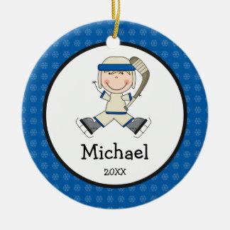 Hockey Boy Blonde Kids Personalized Christmas Round Ceramic Decoration