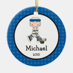Hockey Boy Kids Personalised Christmas Round Ceramic Decoration