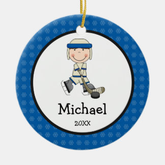 Hockey Boy Kids Personalized Christmas Round Ceramic Decoration