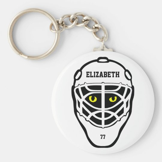 Hockey Cat Eyes Helmet Keychain