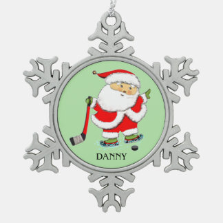 Hockey Christmas Collectible Snowflake Pewter Christmas Ornament