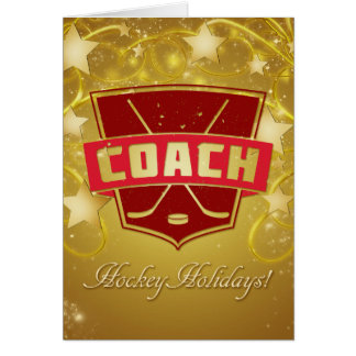 Hockey Coach Red Christmas Card