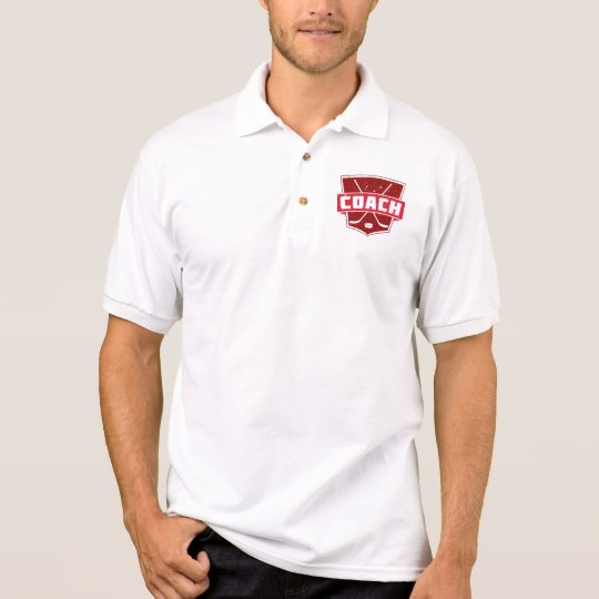 Hockey Coach Retro Style Shield Polo Shirt