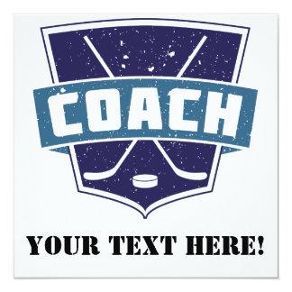 Hockey Coach Shield Design 13 Cm X 13 Cm Square Invitation Card