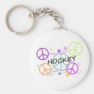 Hockey Colored Peace Signs Key Ring