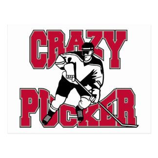 Hockey Crazy Pucker Post Cards